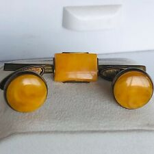 Vintage Amber(?) set tie clip clasp Cufflinks gold plated