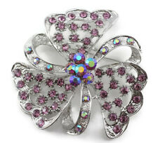 Floral Bridal Wedding Brooch Pin Purple Fancy Austrian Rhinestone Crystal