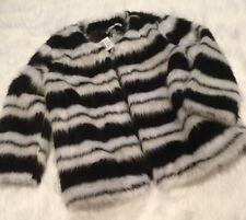 WD NY Black White Stripe Faux Fur Jacket Small NWT WDNY