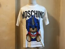 MOSCHINO COUTURE LOGO SIGNATURE OPTIMUS TRANSFORMER BLUE BEAR PRINT T SHIRT S L