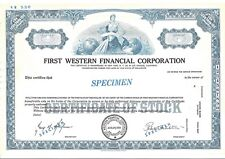 "FIRST WESTERN FINANCIAL CORPORATION.....""SPECIMEN"" COMMON STOCK CERTIFICATE"