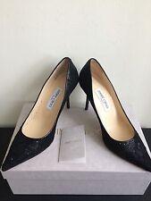 NIB $675 Jimmy Choo Agnes Glitter Lace Pump Black Size 7.5/37.5