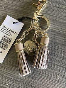 Brahmin Warm Grey Collodi Dual Tassel Key Fob Key Ring Bag Charm Msrp $55
