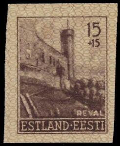 "GERMAN  OCCUPATION of ESTONIA NB1i - Castle Tower, Tallinn ""Imperf"" (pa62889)"