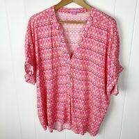 Woman Within 1X Top Popover Pink Red Geo Print Dolman Cotton Plus 22/24 I14