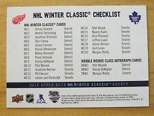 WC 2014 NHL Winter Classic CHECKLIST Upper Deck Hockey Card SGA Leafs/Wings