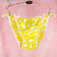 VTG style Satin wetlook ladies sissy YELLOW Polka Dot panties String bikini S-XL