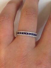 anello fedina argento 925 % rodiato anallergico zirconi blu e bianchi misura 18