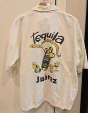 VINTAGE Bootleg Tequila Sauza Juarez Mexico Rugby Polo Shirt White Large
