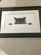 "Bob Bowdige ""Peeping Tom"" Cat Signed Framed Print /"