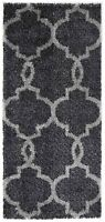 DAYTON CHARCOAL GREY MOROCCAN TRELLIS SHAGGY FLOOR RUG RUNNER 80x200cm **NEW**