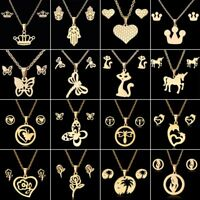 Stainless Steel Women Pendant Necklace Earrings Wedding Jewellery Set Gift