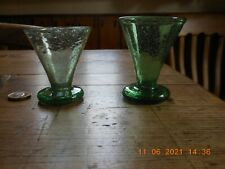 Lovely Antique Hand Blown Green Victorian Glass Posy Vases Circa 1850