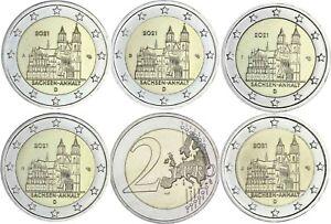 Deutschland 5 x 2 Euro 2021 Magdeburger Dom bankfrischer Komplettsatz A D F G J
