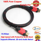 2pcs High Speed HDMI CABLE v1.4 1080P HD for BLURAY PS4 Xbox 6FT Braided Full HD