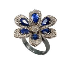 925 Sterling Silver Rose cut Diamond Blue Sapphire Floral Victorian Ring r-283