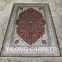 Yilong 4'x6' Red Floral Handwoven Silk Area Rug Living Room Classic Carpet H283B