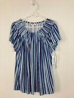 Style & Co. Women's Blue Striped Ruffle Neck Short Sleeve Top Size Large