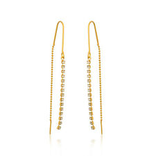 Sevil 18K Gold Plated Threader Drop Earrings Made W/ Swarovski Elements