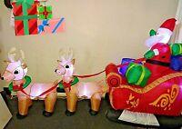 8' CHRISTMAS SANTA REINDEER SLED SLEIGH  INFLATABLE AIRBLOWN