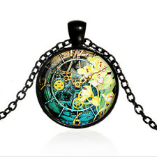 Vintage Steampunk  Watch Butterfly Cabochon Black Glass Chain Pendant Necklace