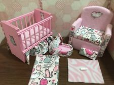 Barbie Baby Nursery Set Furniture Crib, Baby Bottle,Sofa ,Carrier.Cats