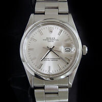 Mens Rolex Date SS Stainless Steel Watch Silver Stick Dial Oyster Band 15000