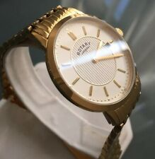 Men's Genuine Rotary Slim Dress Watch Gold  Date Champagne Dial Classic GB00248