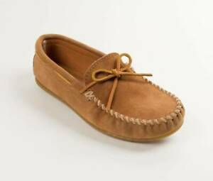 Pre-Owned Minnetonka Moccasins Tan Suede Men's Slip On Loafers #917T