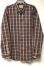CABELA'S OUTFITTER SERIES BROWN PLAID COTTON LONG SLEEVE BUTTON FRONT SHIRT XLT