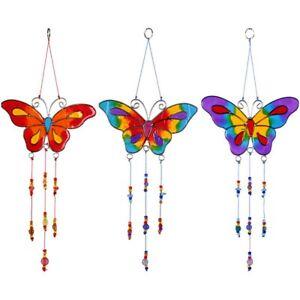 Hanging Window Suncatcher Butterfly with Beads Garden Mobile Purple Blue Orange