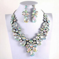 Blue Ice Large Rhinestone Teardrop Necklace & Earring Set - Pageant Drag queen