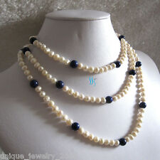 "50"" 5-8mm White Pearl Blue Stone Freshwater Pearl Necklace"