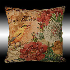 FRENCH COLORUL BIRDS FLOWERS TAPESTRY DECO CUSHION COVER THROW PILLOW CASE 17""