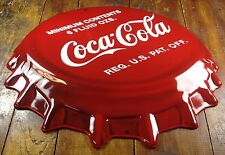 COCA COLA CLASSIC RED WHITE 6 FL OZ BOTTLE CAP SHAPED HIGHLY EMBOSSED METAL SIGN