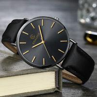 Business Men's Fashion Simple Leather Band Analog Quartz Round Casual Wristwatch