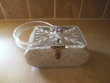1950s Art Deco  Lucite and Gold Threaded Confetti Purse   David's Fifth Avenue