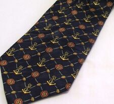 """Cromley & Finch London Anchors Print On Jacquard Silk Mens Neck Tie Navy 58"""" New"""