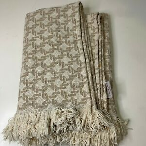 Peacock Alley throw blanket knit woven fringe tan team cotton acrylic blend