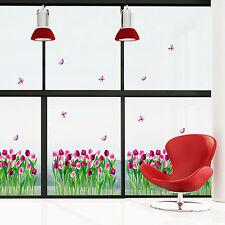 Wandsticker Schmetterlinge und Tulpen purpur Wandtattoo Blumen