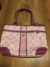 Coach F15137 Purple & white Heritage Signature Stripe Tote Bag PURSE