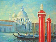 "American Artist Nino Pippa Painting of Venice The Red Poles COA18"" X24"""