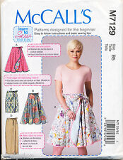 MCCALL'S SEWING PATTERN 7129 MISSES SZ 8-16 EASY FLARED OR STRAIGHT WRAP SKIRTS
