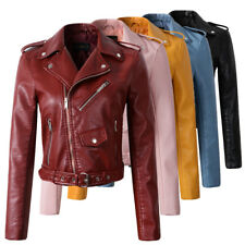 $36.49! New Womens Faux Leather Jacket!! Lady Bomber Motorcycle Cool Outerwear