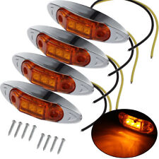 4pcs Waterproof Amber Yellow 3LED Side Marker Lights for Trailer Truck Boat 12V