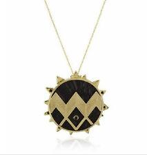 Long Necklace Aztec Black & Gold Sprike Medallion Locket Celeb New