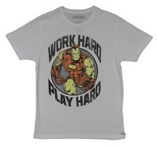 Iron Man Work Hard Play Hard Marvel Comics Licensed Adult T-Shirt