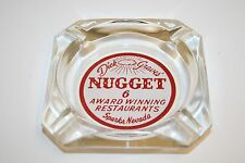 Wow Vintage Dick Grave's Nugget Casino Mid Century Glass Cigarette Ashtray Rare
