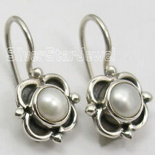 """Little Extra Ordinary Earrings 0.7"""" New 925 Solid Silver White Pearl Girls'"""