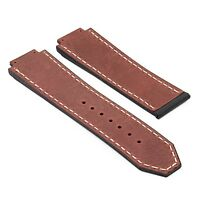DASSARI Vintage Italian Leather & Rubber Strap Band for Hublot Big Bang Watch